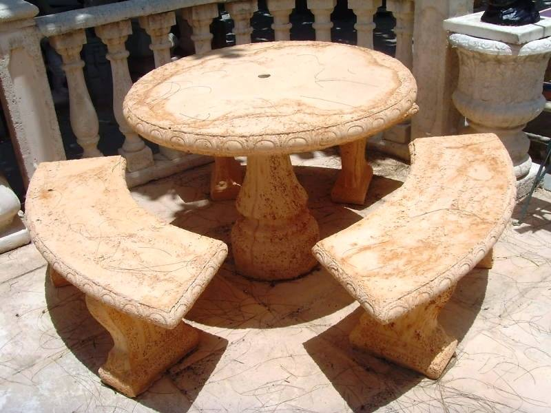 Cement Picnic Tables Round Randolph Indoor And Outdoor