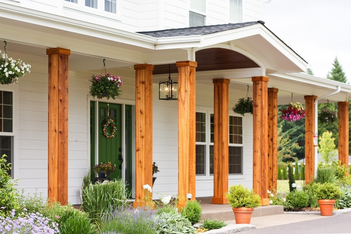 Front Porch To A Colonial House