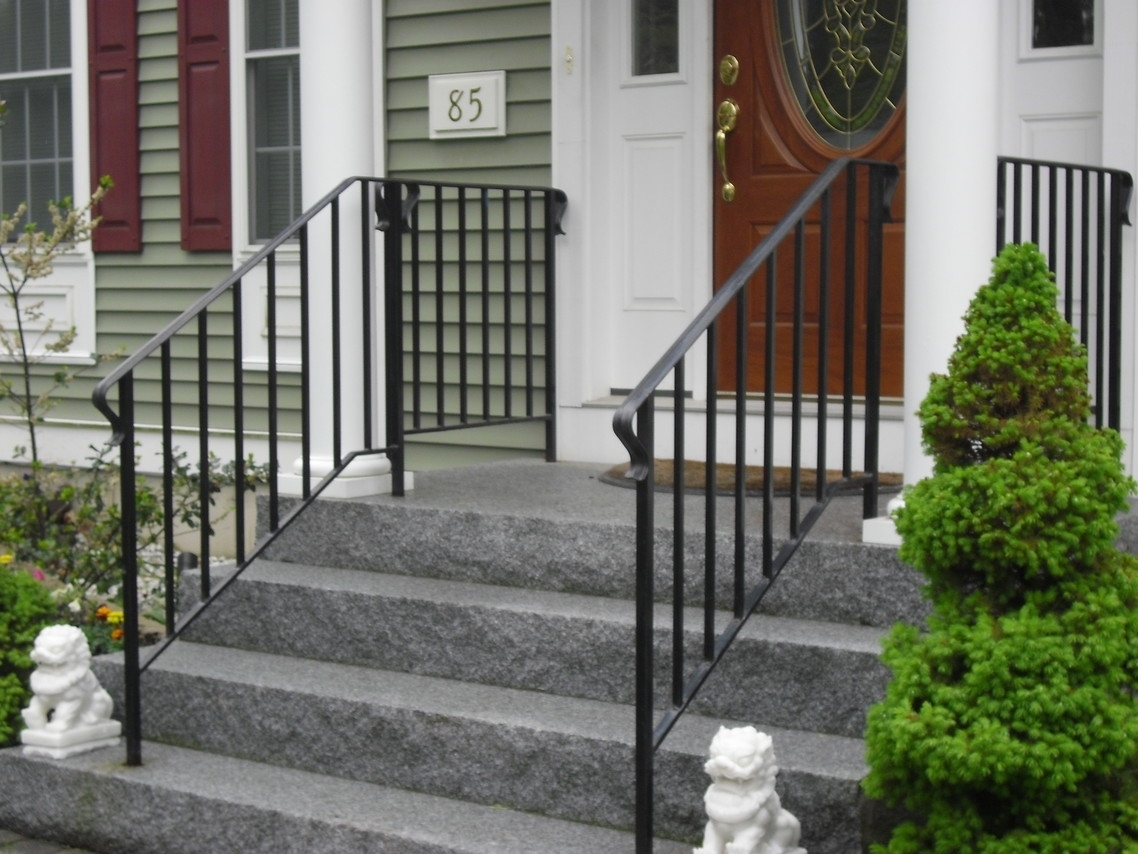 Porch With White Columns With Black Railing — Randolph ...