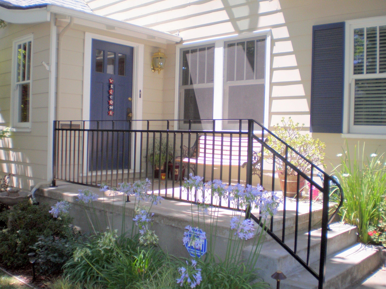 Black Aluminum Front Porch Railing Red Brick House Randolph Indoor And Outdoor Design