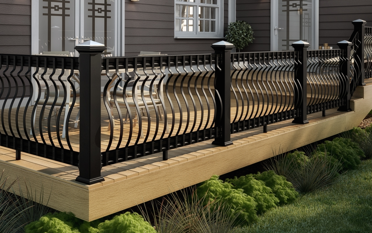 Front Porch With Black Railing Randolph Indoor And