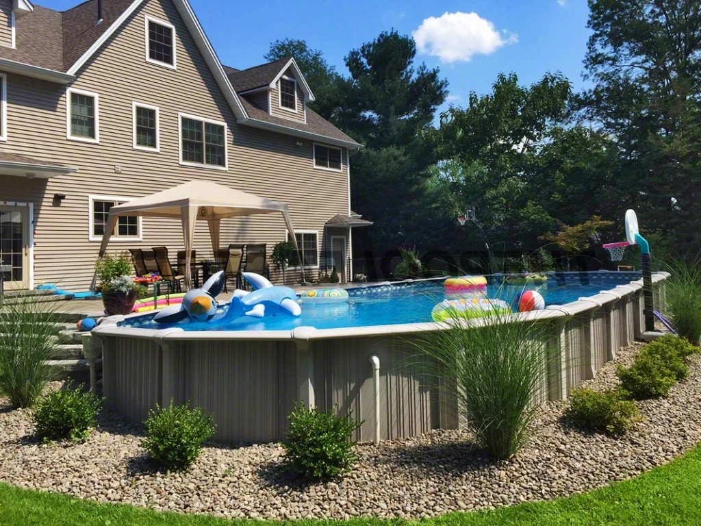 Ideas Above Ground Pool Landscaping Randolph Indoor And