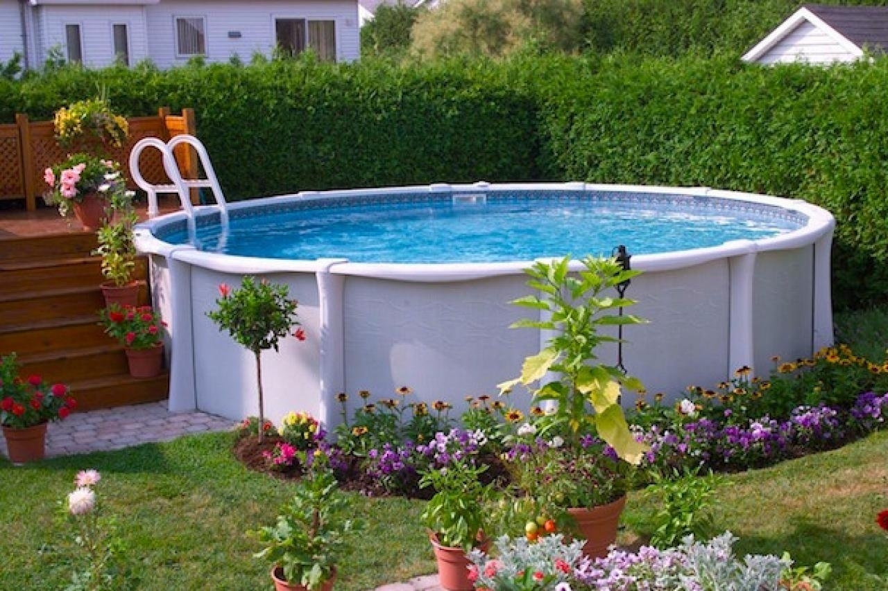 Ideas above ground pool landscaping randolph indoor and - Above ground pool ideas on a budget ...