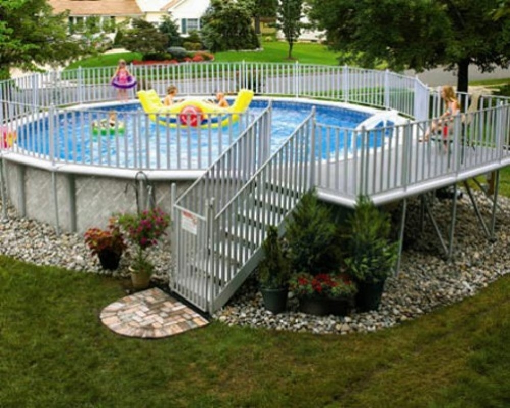 Above Ground Swimming Pool Landscaping Randolph Indoor And Outdoor Design
