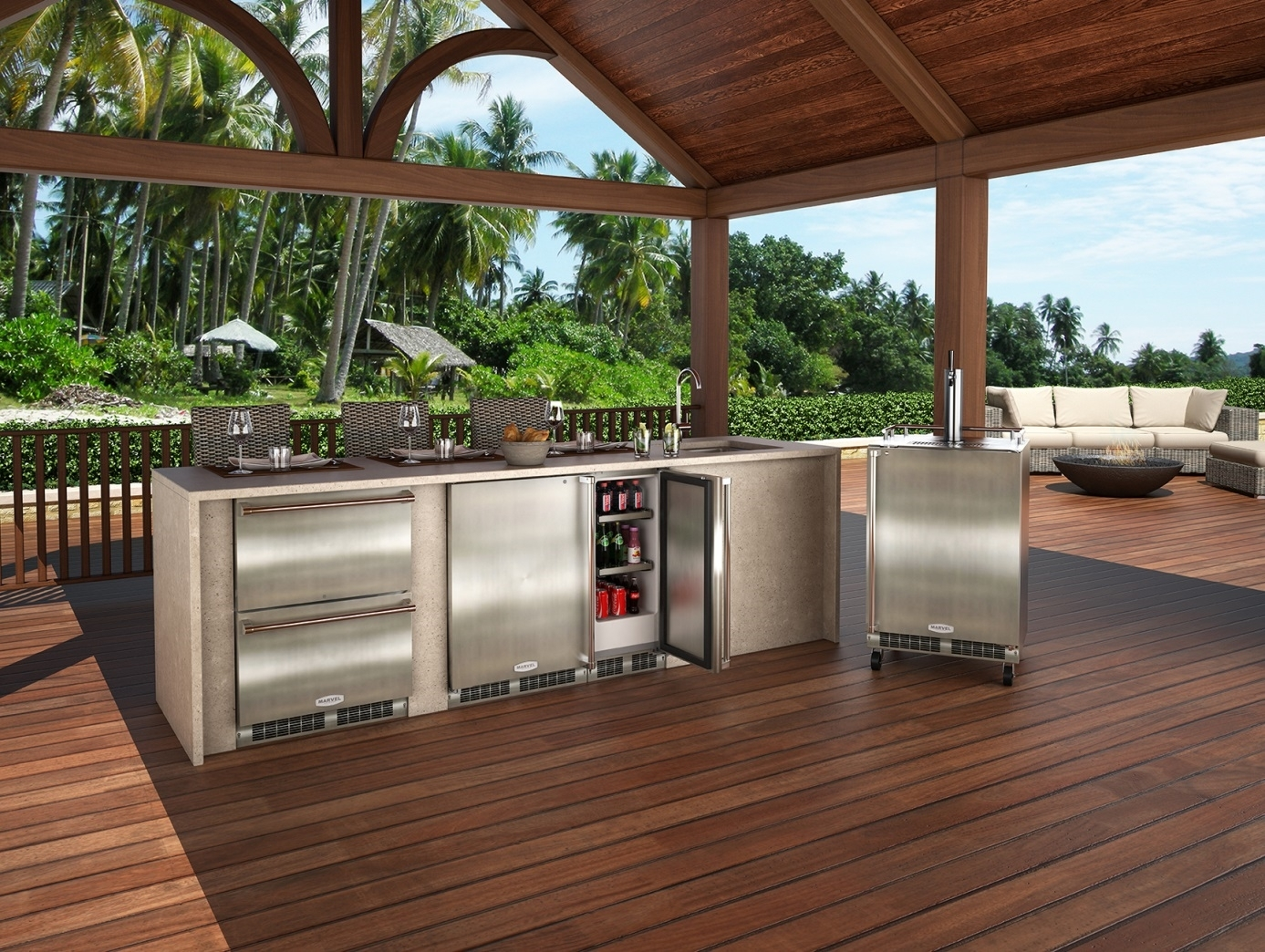 Awesome Outdoor Kitchen Beverage Center