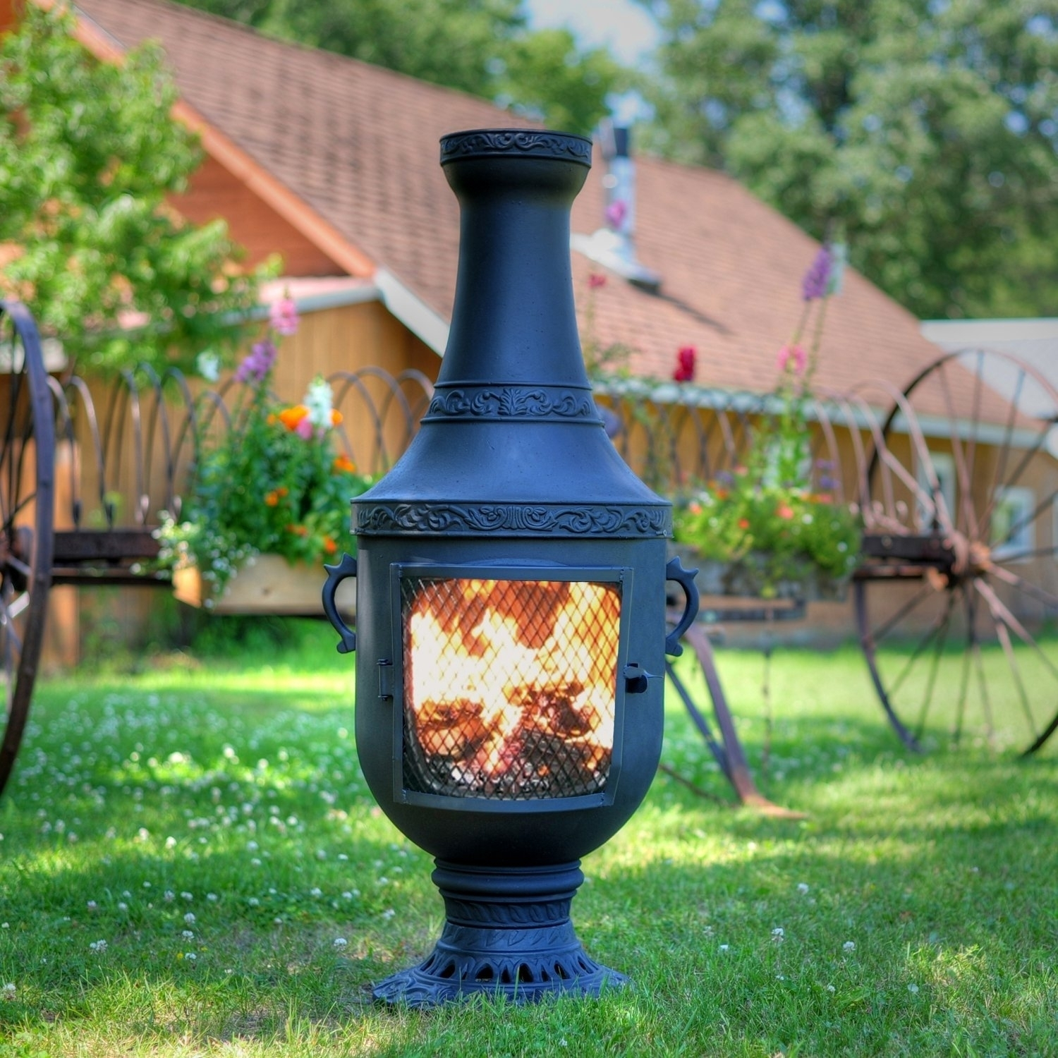 Extra Large Clay Chiminea Outdoor Fireplace Randolph