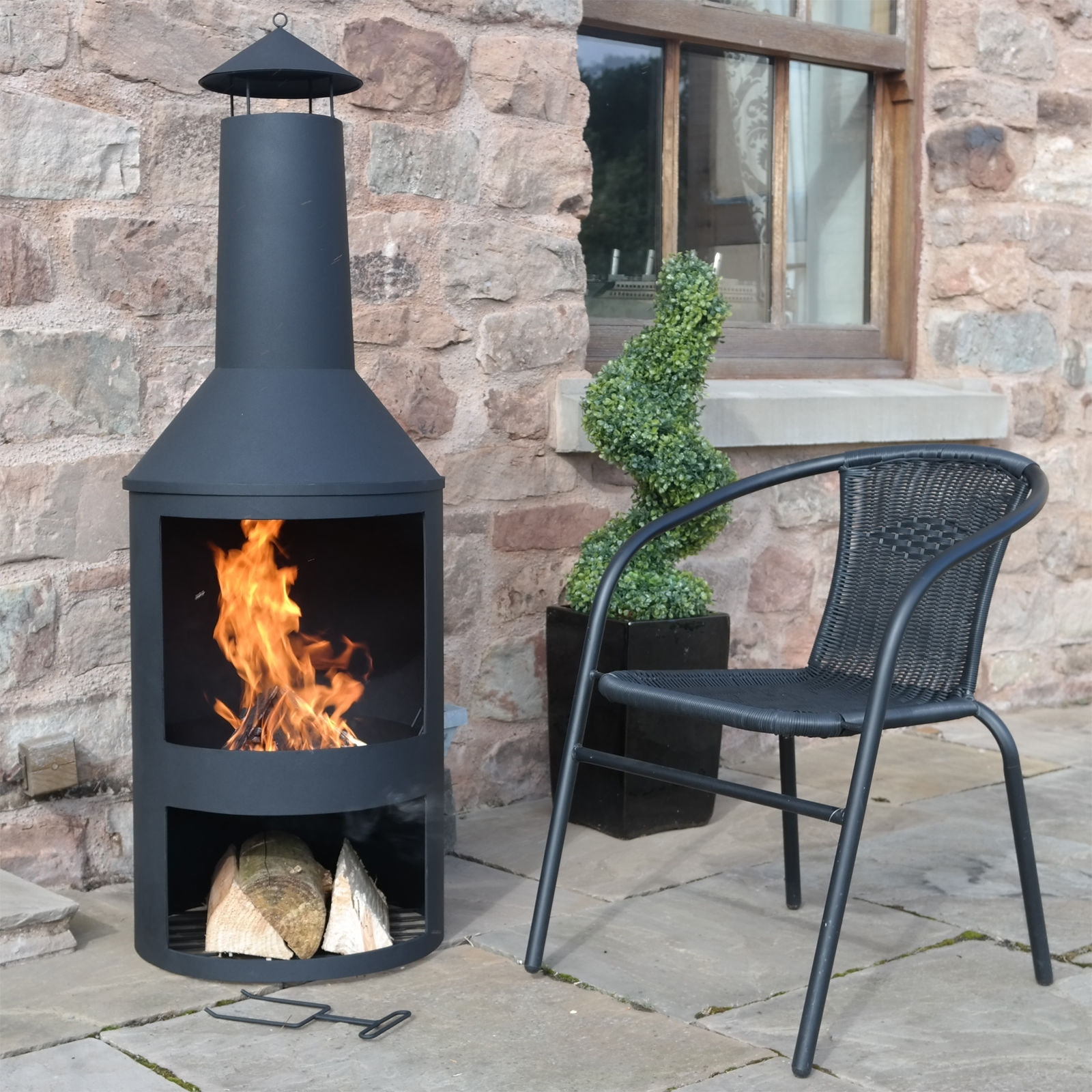Fireplace Near Kitchen: Extra Large Clay Chiminea Outdoor Fireplace