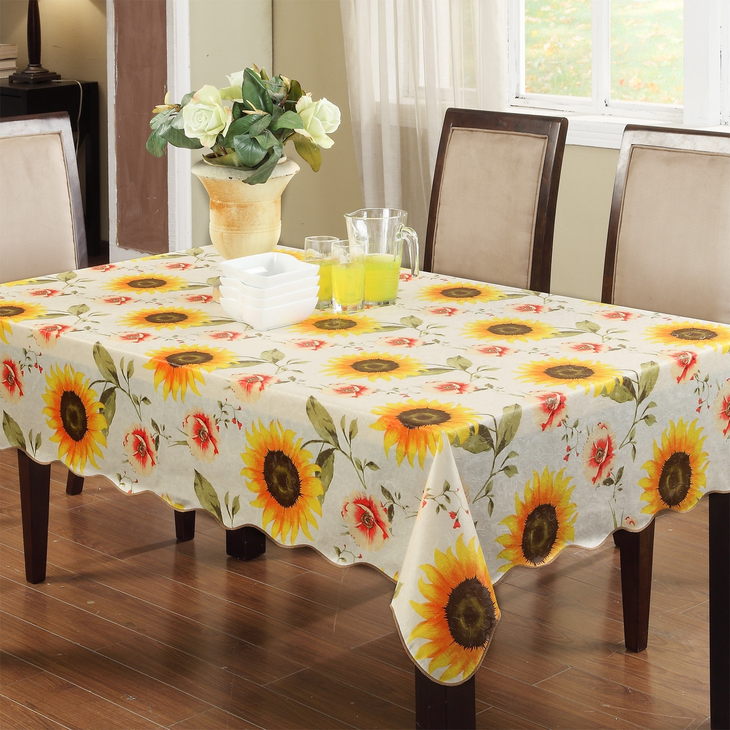 Slate Carnation Home Fashions 60 Inch Round Vinyl Fitted Flannel Backed Tablecloth 60
