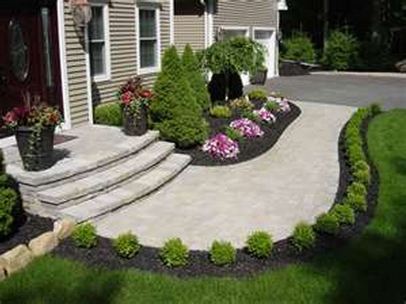 Front Yard Sidewalk Landscaping Ideas Colonial Style Home