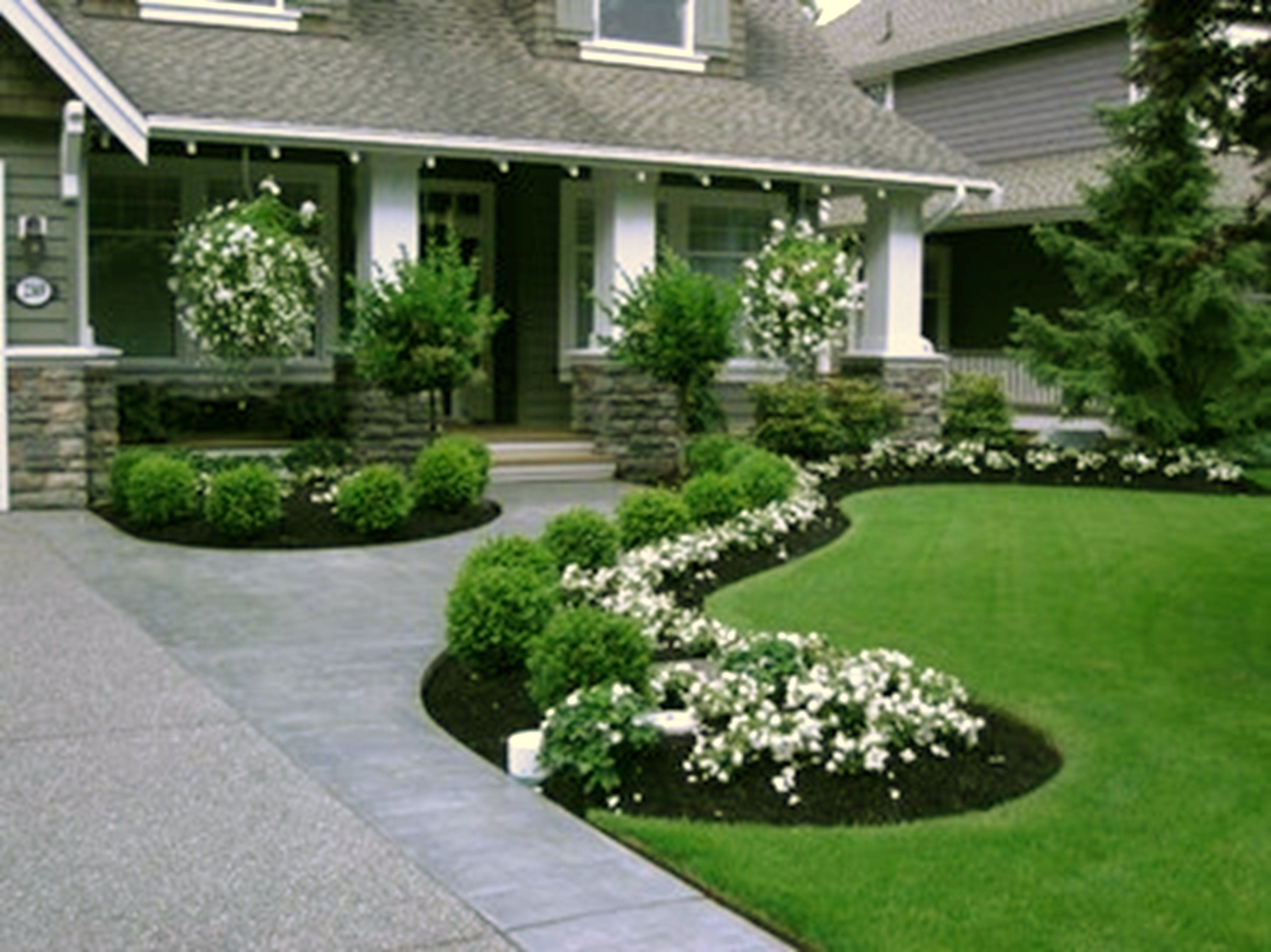 Superior Front Yard Sidewalk Landscaping Ideas