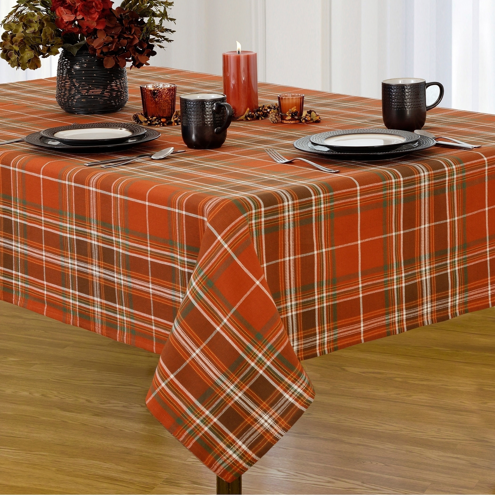 Flannel Backed Vinyl Tablecloth Fall Randolph Indoor And