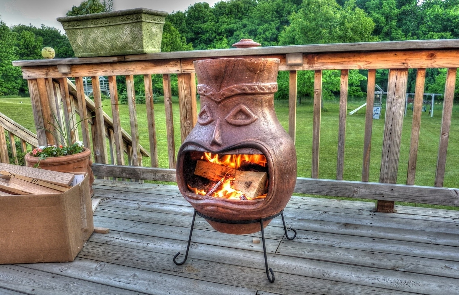 Large Clay Chiminea Outdoor Fireplace Ideas Randolph Indoor And