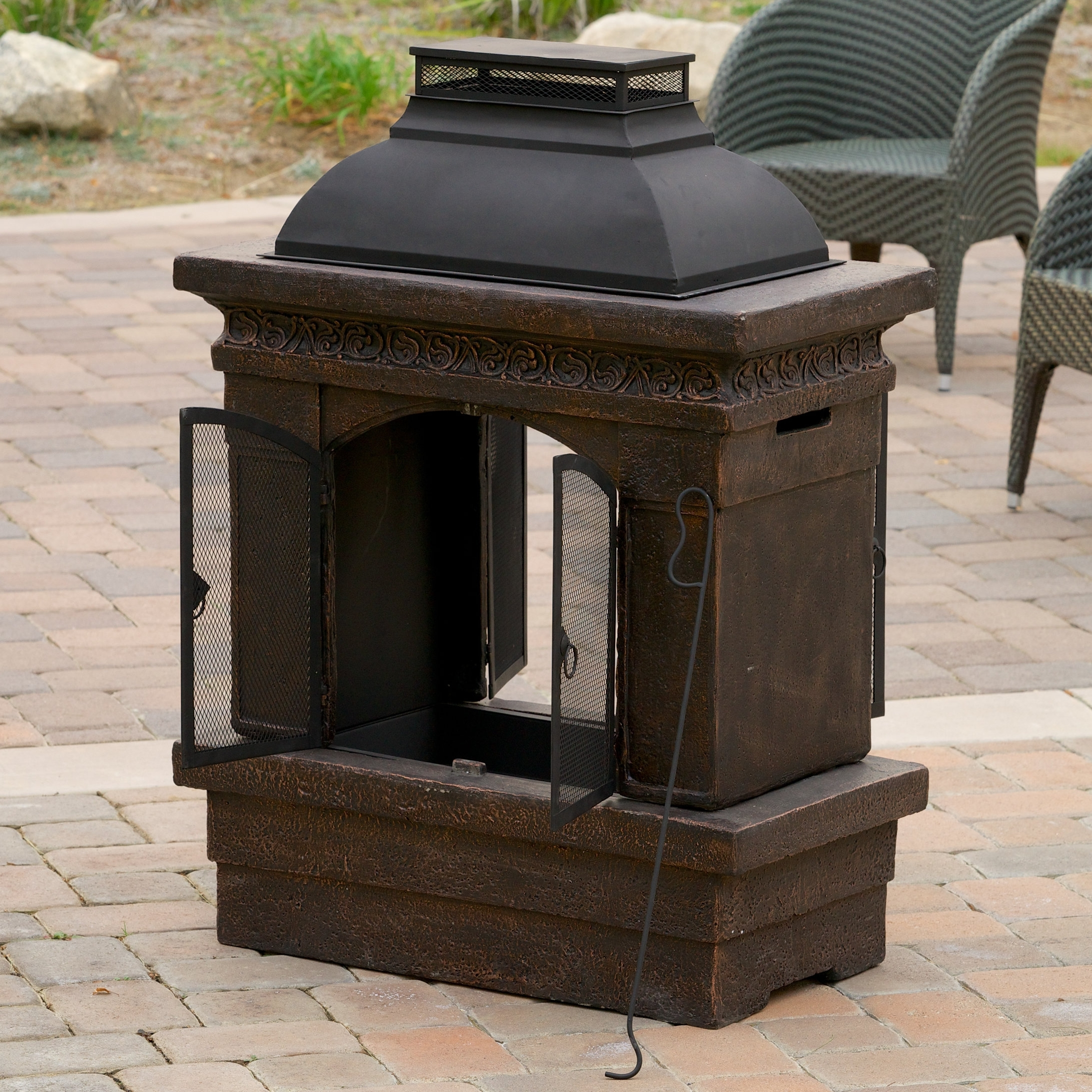 Mexican Large Clay Chiminea Outdoor Fireplace Randolph Indoor