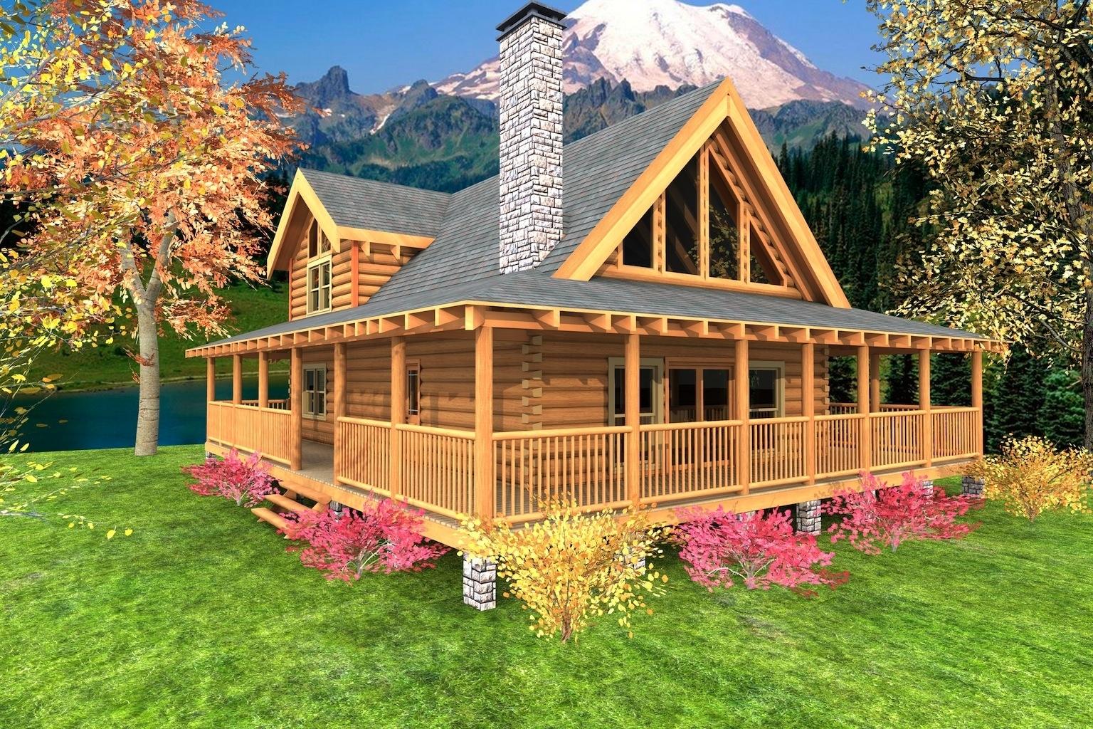 Distinctive Log Cabin With Wrap Around Porch — Randolph Indoor and Outdoor  Design