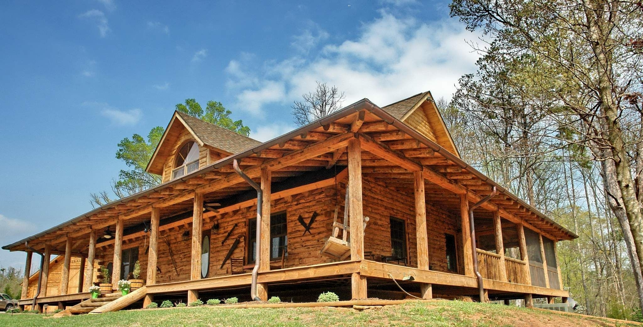 Log Cabin Home With Wrap Around Porch Randolph Indoor And Outdoor Design