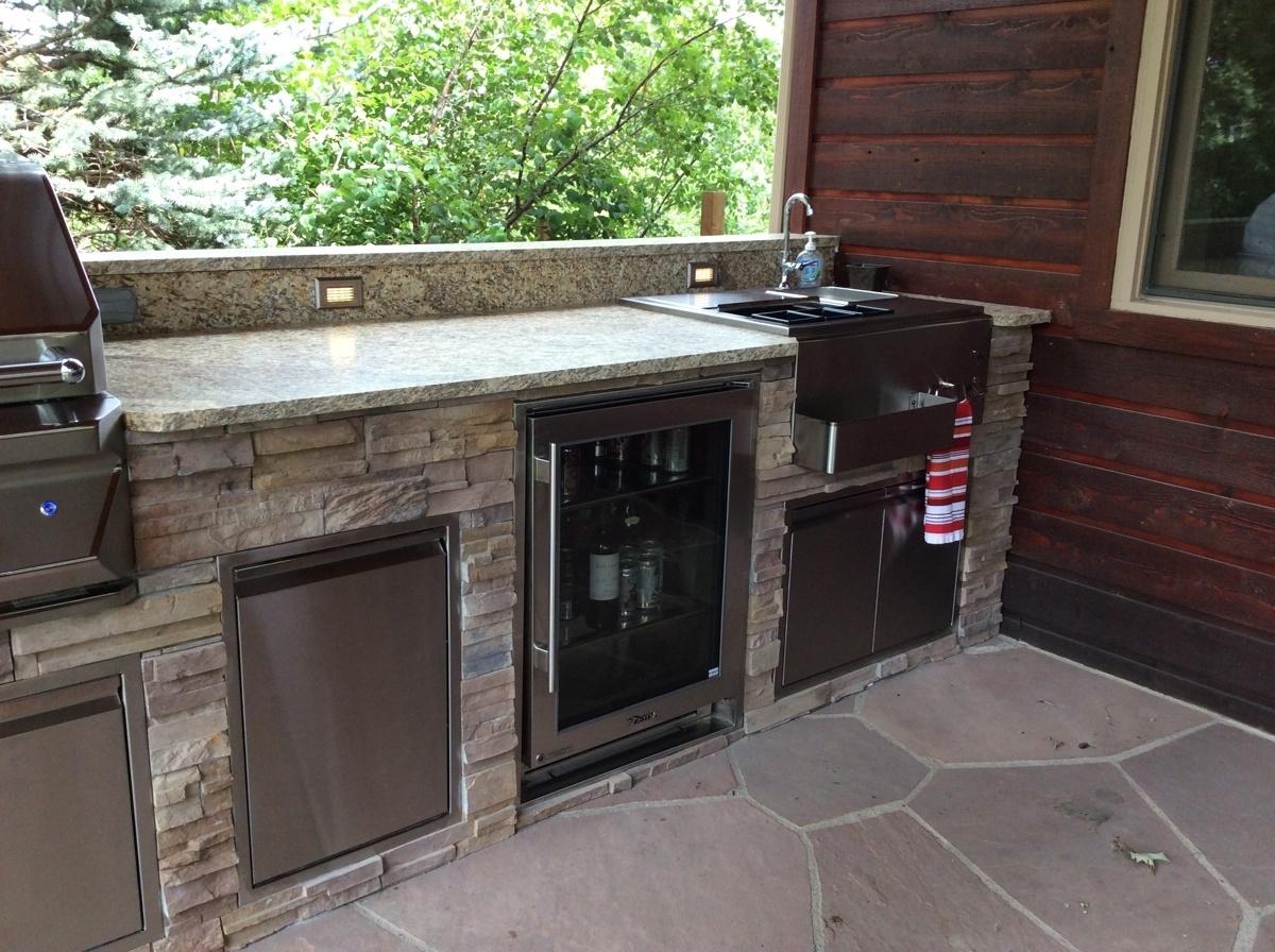 Outdoor Kitchen Beverage Center With Stone