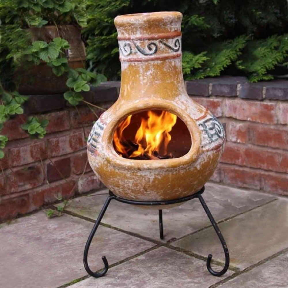 Simple Large Clay Chiminea Outdoor Fireplace Randolph Indoor And